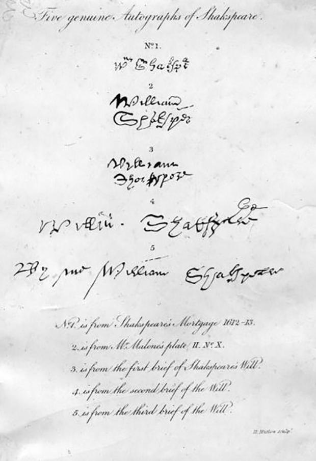 Có thể nói, bút tích hay chữ ký của đại thi hào William Shakespeare là vô giá