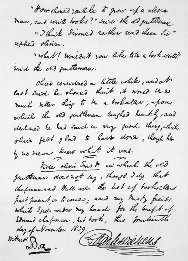 Một bản chép tay của tác giả Cherles Dickens